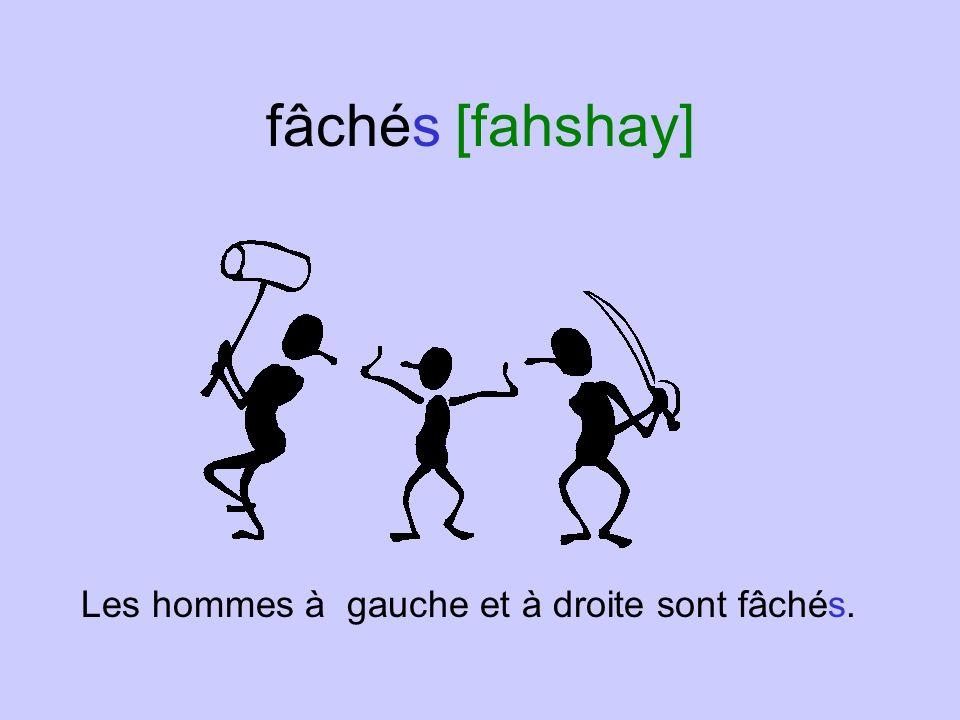 fâchés [fahshay] Les hommes à gauche et à droite sont fâchés.